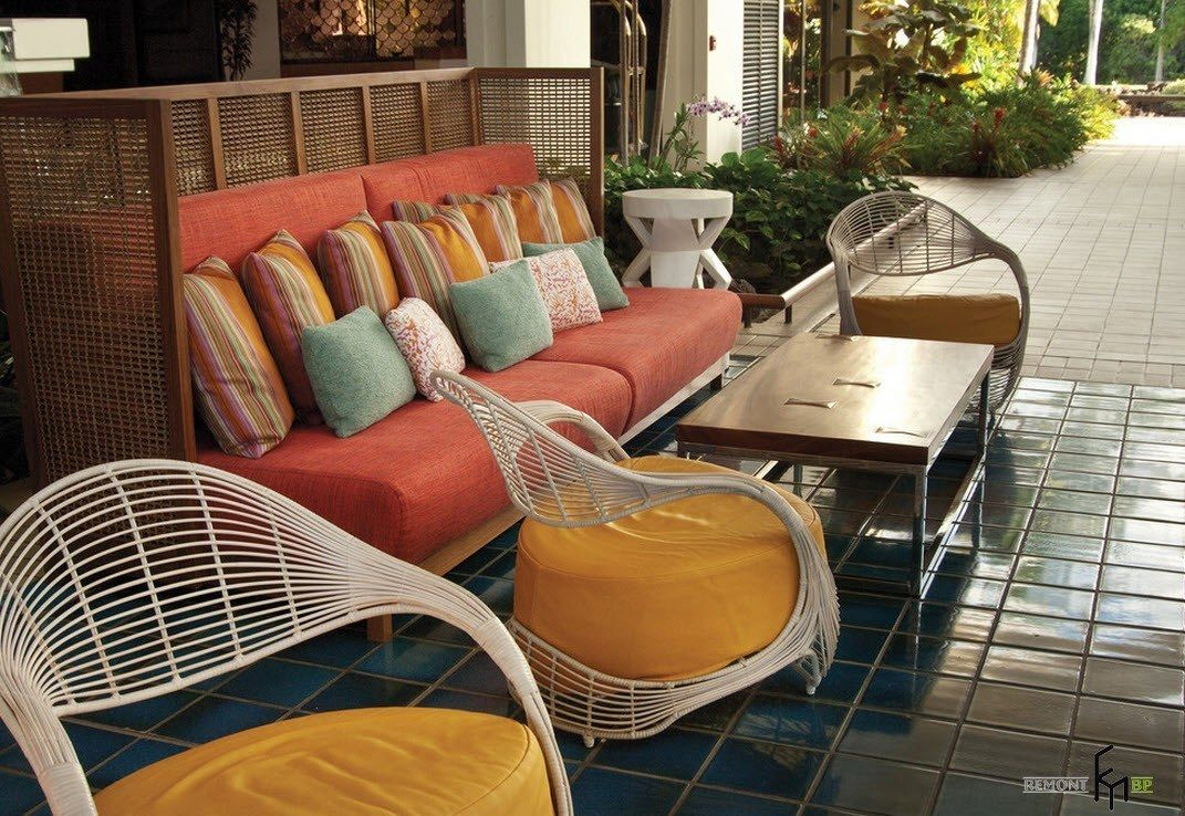 Patio furniture outdoor. Reviewing Types with Photos. Poolside relaxing zone with multicolored furniture set