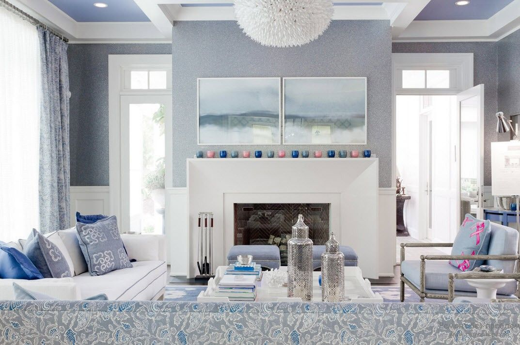 Blue Color Interior Decoraion Ideas. Water Element in Your Home. Morning blue shade for the high living room with large fireplace