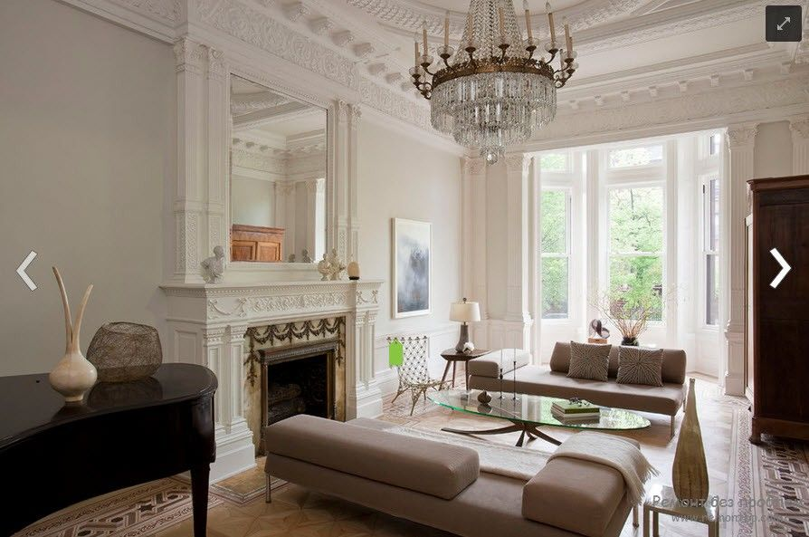Polyurethane Stucco Interior Finishing & Usage Ideas. Large light color scheme living room with th fireplace and mirror
