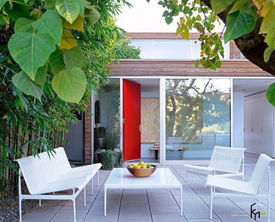 Patio furniture outdoor. Reviewing Types with Photo. Outdoor rest zone with white plastic furniture