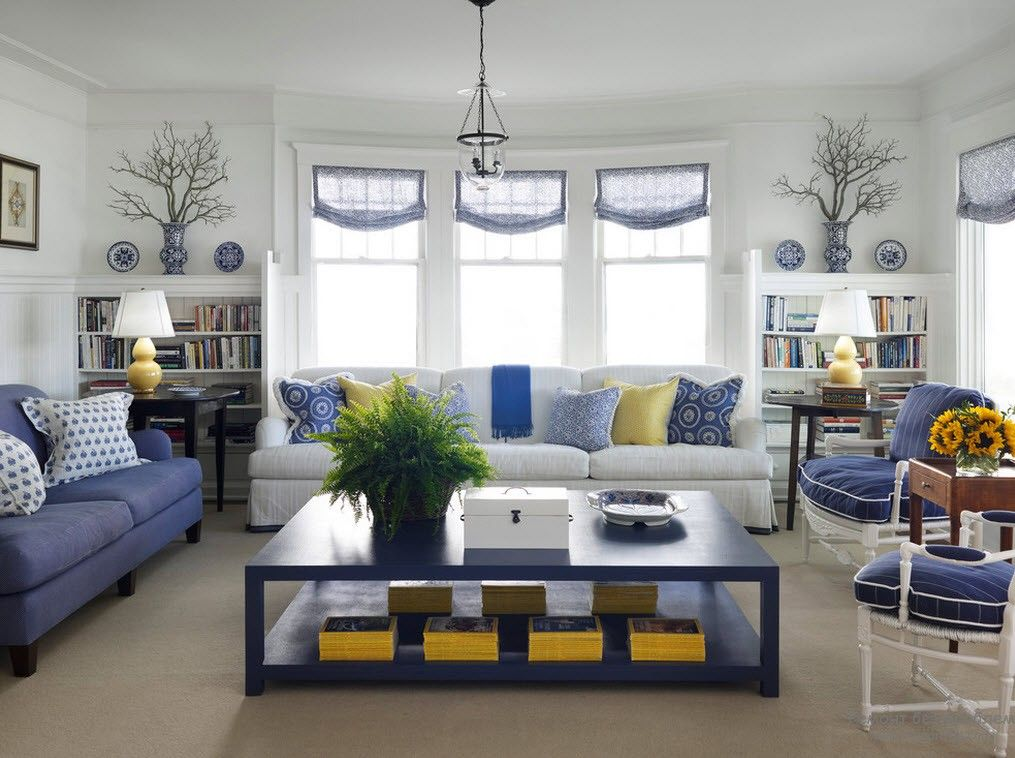 Blue Color Interior Decoraion Ideas. Water Element in Your Home. Selective way of filling the living room with main color