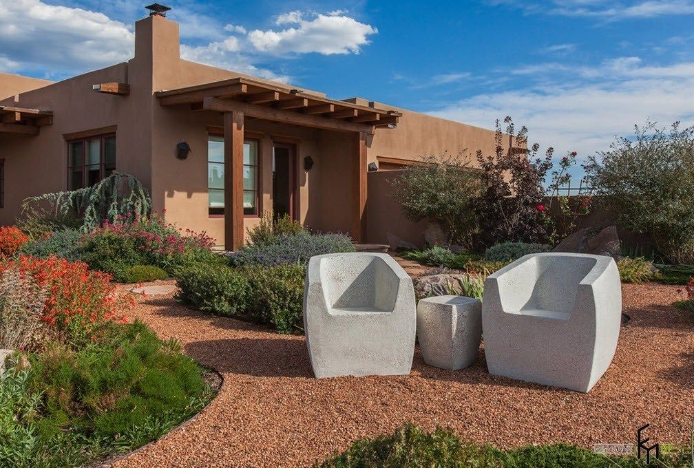 Patio furniture outdoor. Reviewing Types with Photo. Sand color theme for suburban cottage