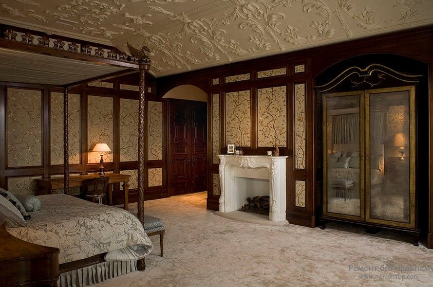 Polyurethane Stucco Interior Finishing & Usage Ideas. Noble dark wood decorated king size bedroom