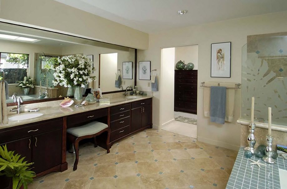 DIY Bathroom Remodel Ideas. Detailed Step by Step Instruction. Grandeur size of the bath with dark wooden bottom tier