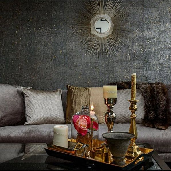 Cork Wallpaper Interior Finishing Advice & Photos. Matted structure of the wall in the living room in dark tones