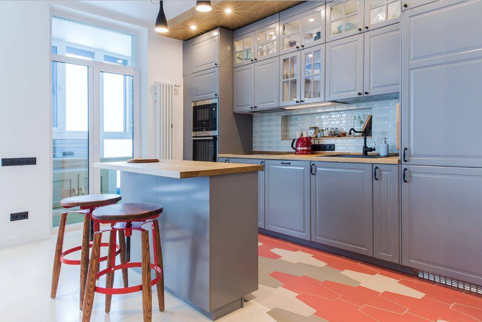 Kitchen Combined with Loggia or Balcony Design Ideas. Kitchen set and island in gray tones