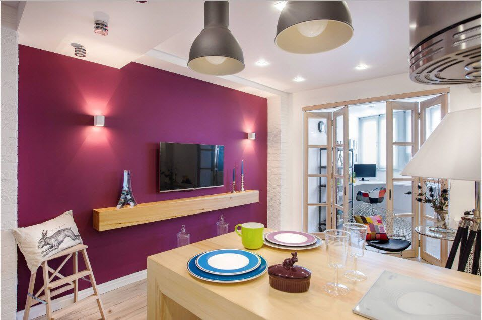 Kitchen Combined with Loggia or Balcony Design Ideas. Accent crimson wall with TV