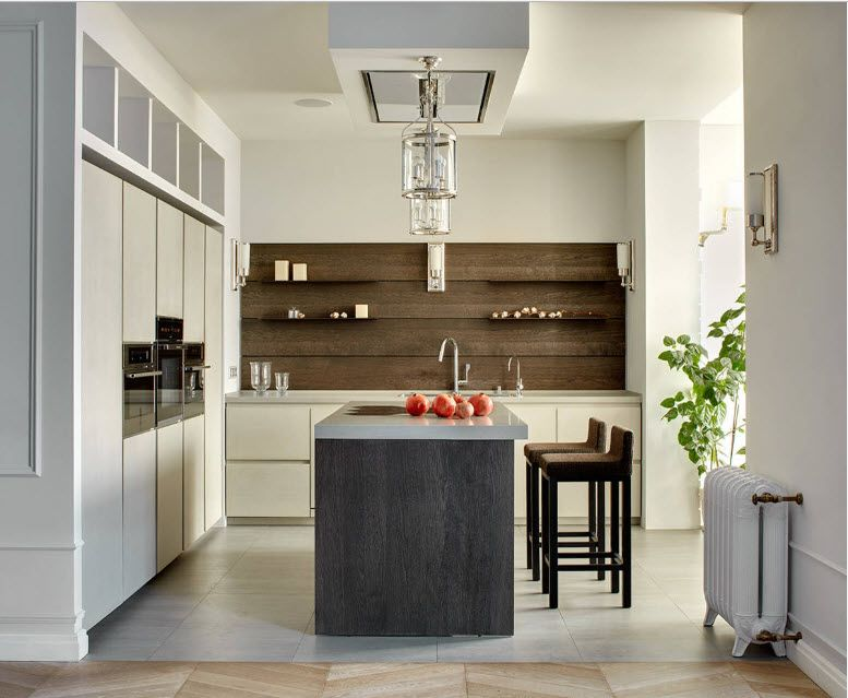 Brown accent of the wall in the noble classic styled kitchen in light tones
