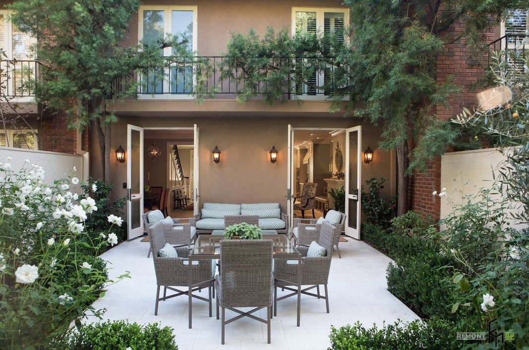 Patio furniture outdoor. Reviewing Types with Photos. Wicker gray furniture set with chairs and the sofa