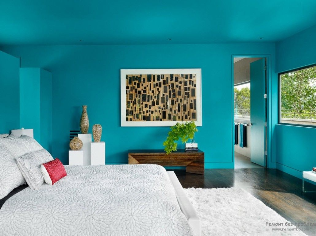 Turquoise Color in Modern Bedroom Interior. All the room in same color looks like aquarium