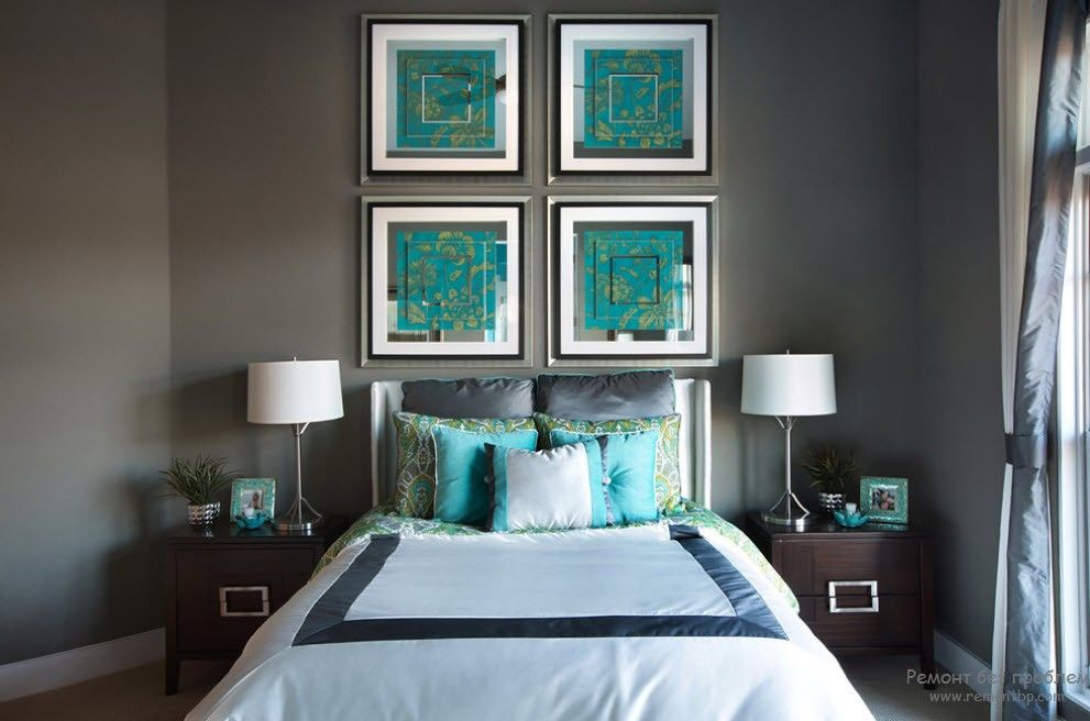 Turquoise Color in Modern Bedroom Interior. Colorful pictures for calm Casual styled room