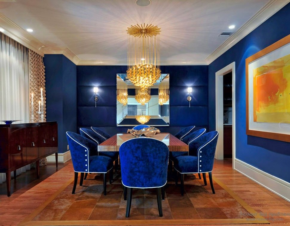 Blue Color Interior Decoraion Ideas. Water Element in Your Home. Rich shade mixed with gold for luxurious dining room image