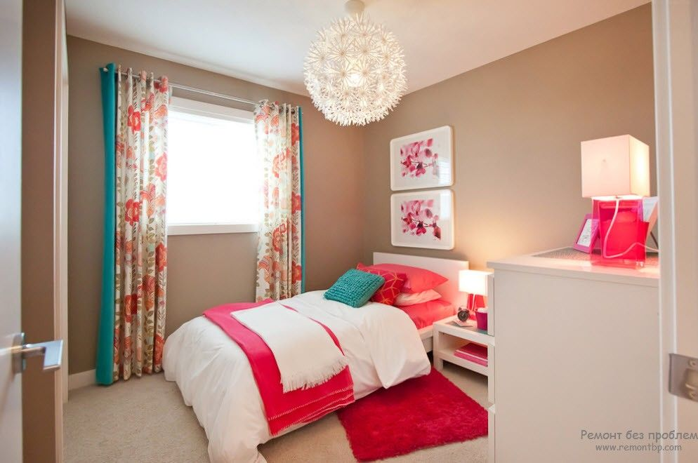 Turquoise Color in Modern Bedroom Interior. Pink and red diluted with turquoise