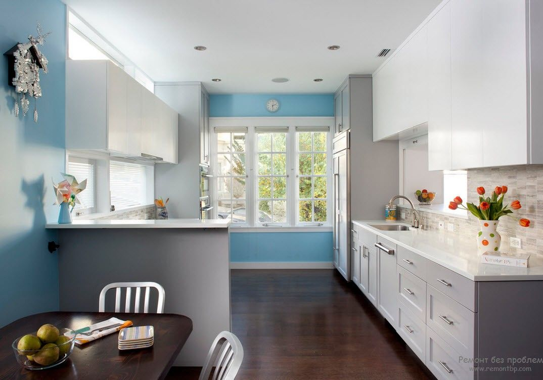 Sky blue accent wall in the kitchen with large window