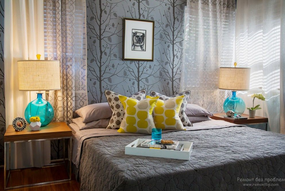 Turquoise Color in Modern Bedroom Interior. Gray shades with other colors