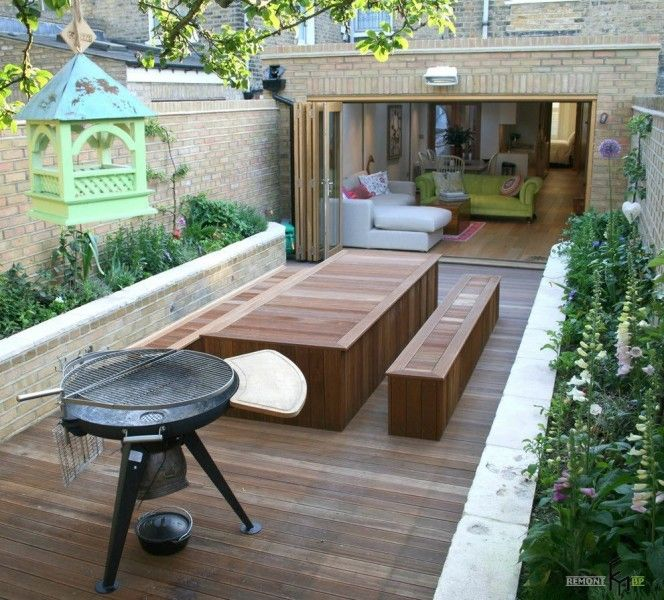 Nicely decorated modern barbeque zone