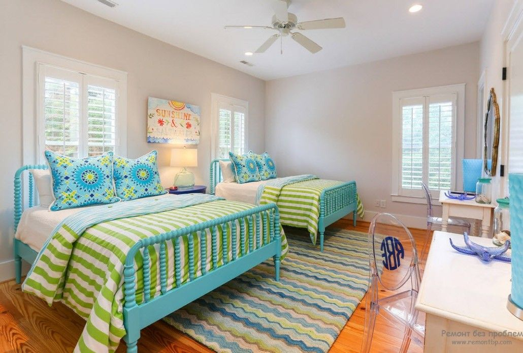 Turquoise Color in Modern Bedroom Interior. Children's room with turquoise bed frames