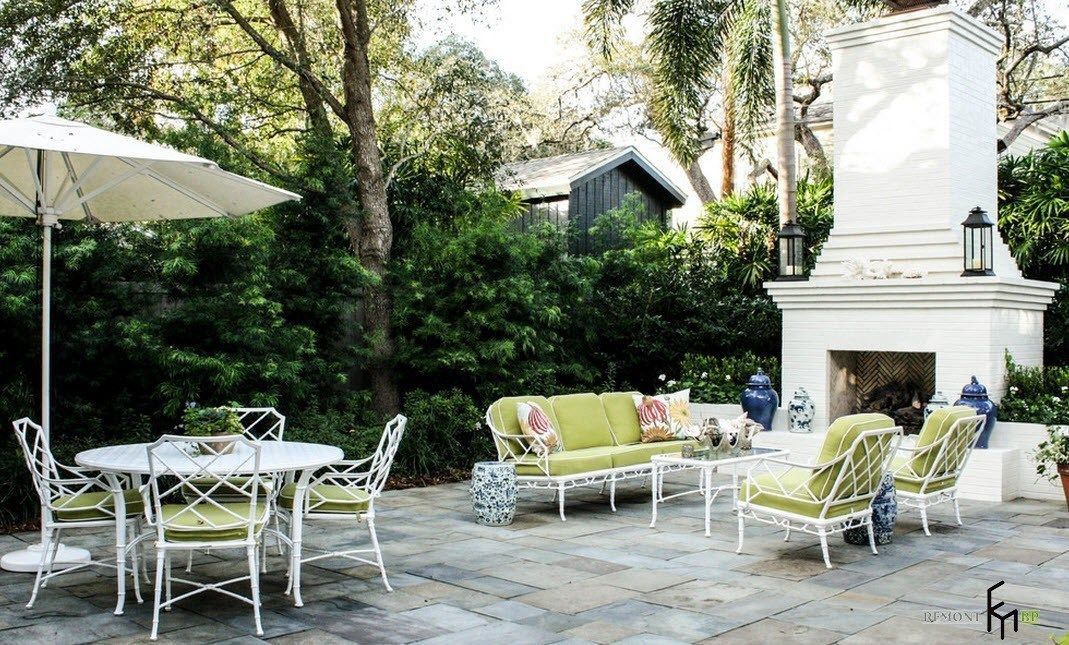 Patio furniture outdoor. Reviewing Types with Photo. Salad color upholstery at the sofa