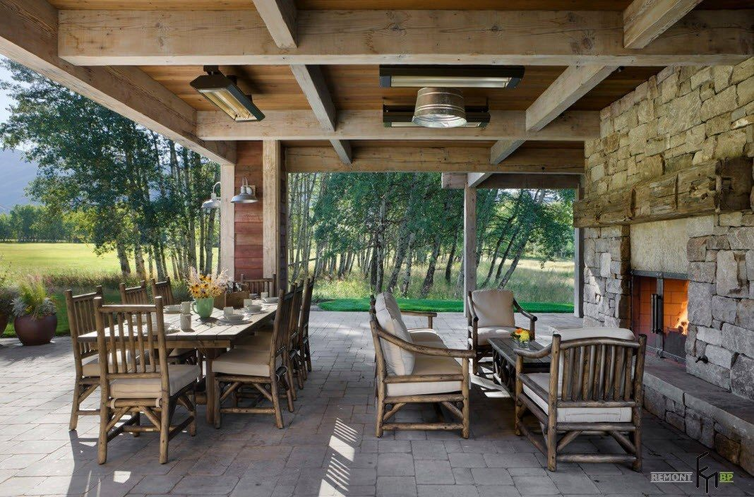 Patio furniture outdoor. Reviewing Types with Photo. Nice design of the back side located leisure open-air place with dining and relaxing zones