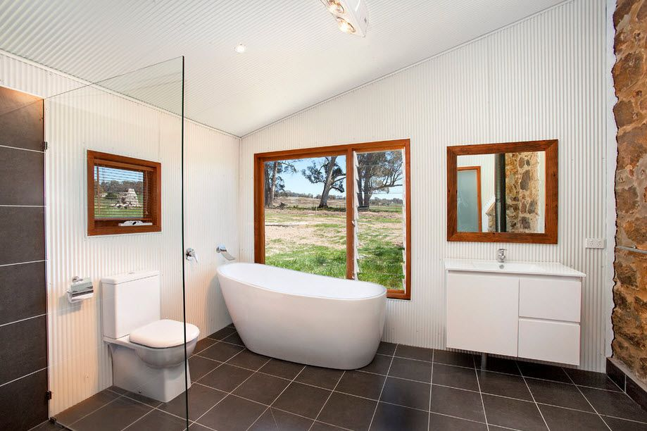 Private cottage at the forest with loft ceiling white decorated Casual styled bathroom