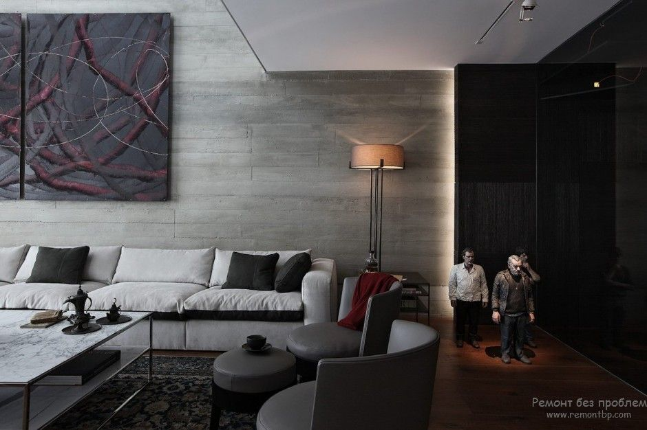 Using Dark Colors in Modern Interiors. Photo Ideas. Casual styled living with the decorative enlighted statues