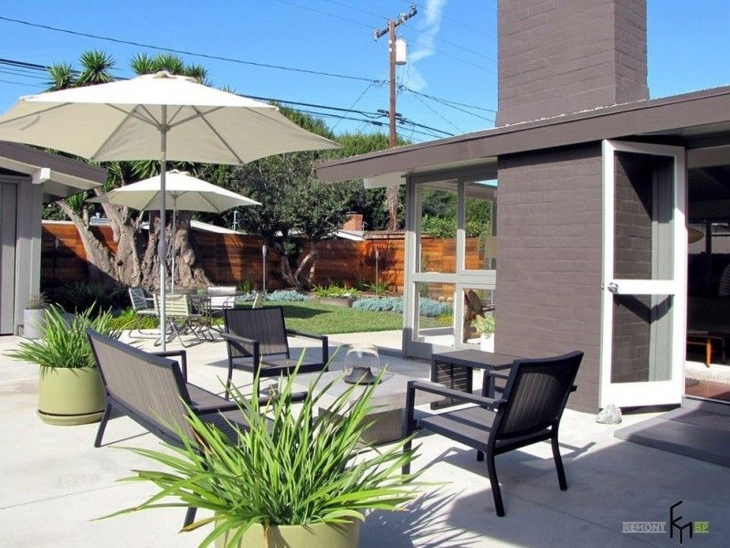 Modern patio with plastic unpretentious