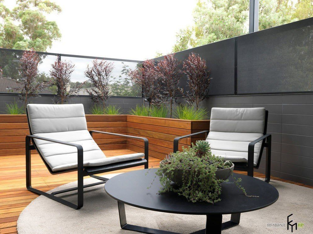 Patio furniture outdoor. Reviewing Types with Photo. Concreted platform at the backyard