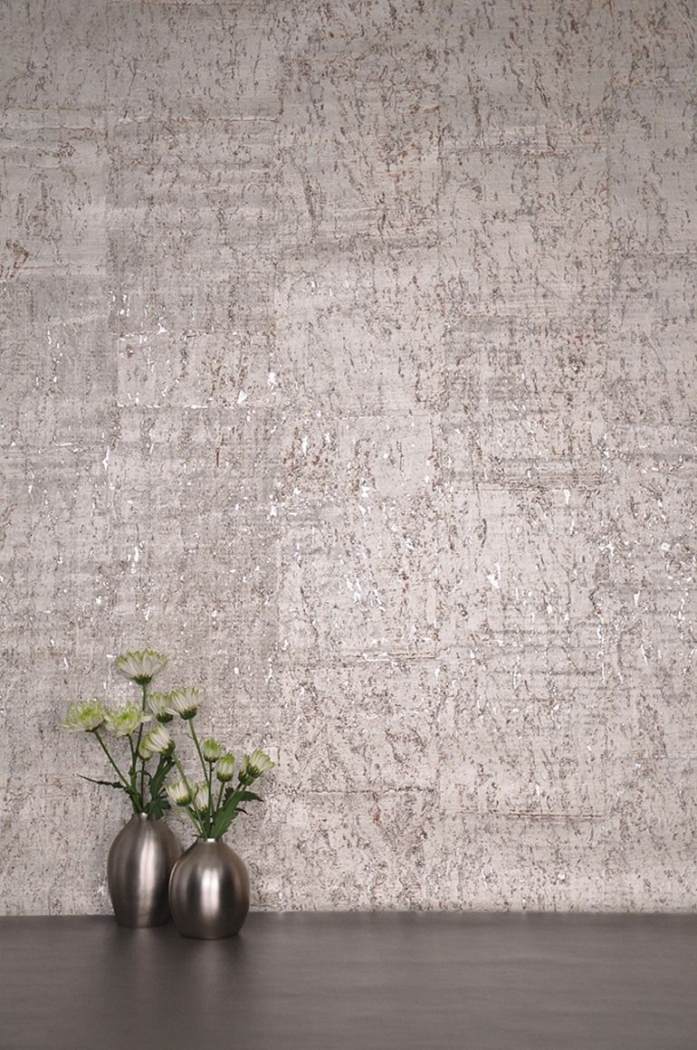 Cork Wallpaper Interior Finishing Advice & Photos. Gray texture on the wall