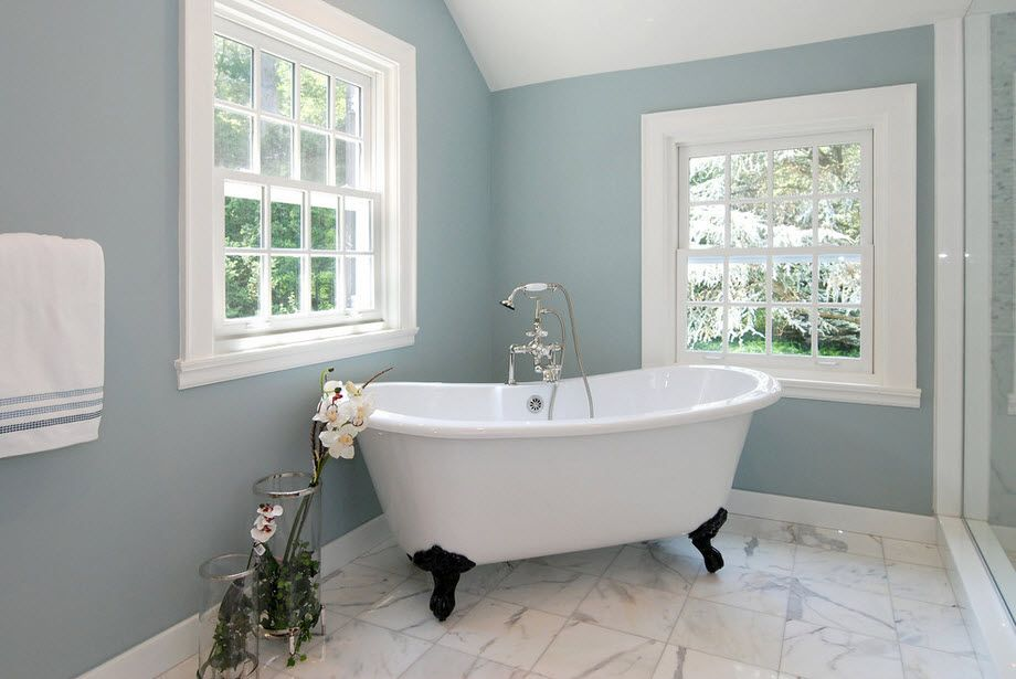 DIY Bathroom Remodel Ideas. Detailed Step by Step Instruction. Classic form of the cast-iron bath plays a new color in the dark olive painted walls