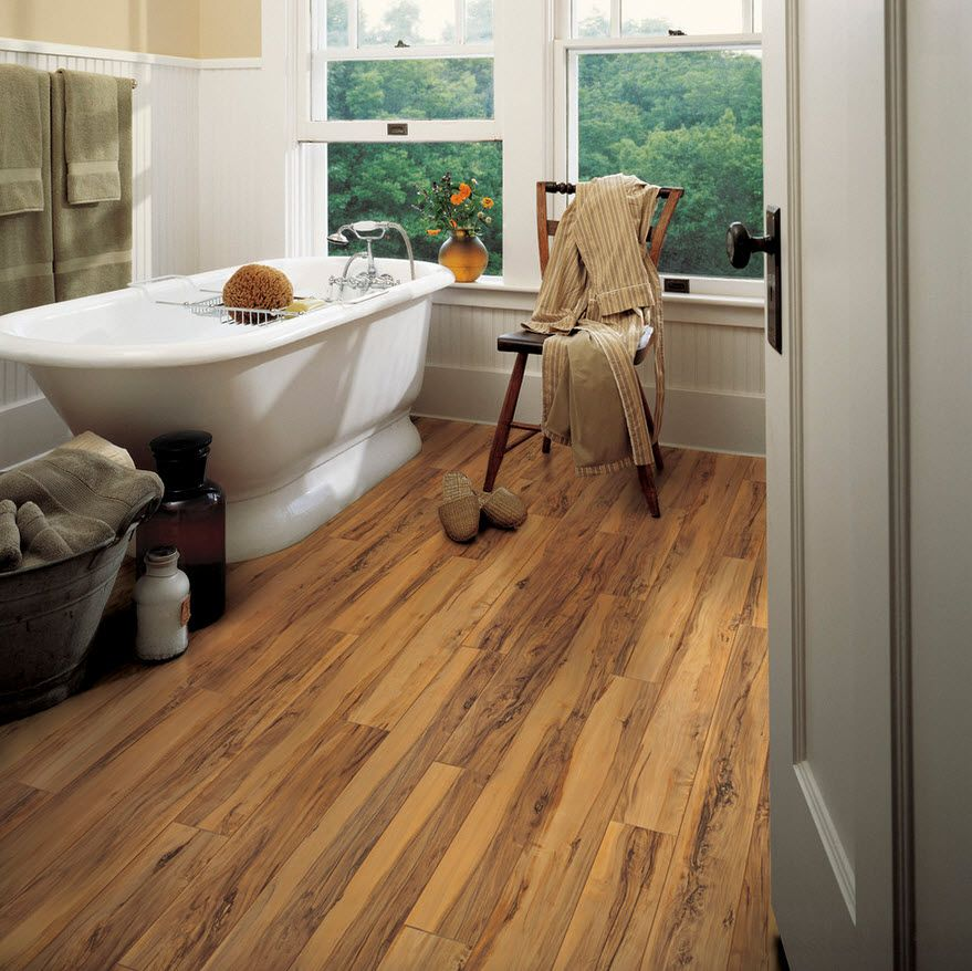 DIY Bathroom Remodel Ideas. Detailed Step by Step Instruction. Dark wooden parquet at the spacious bath