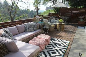 Open space patio with wooden fence