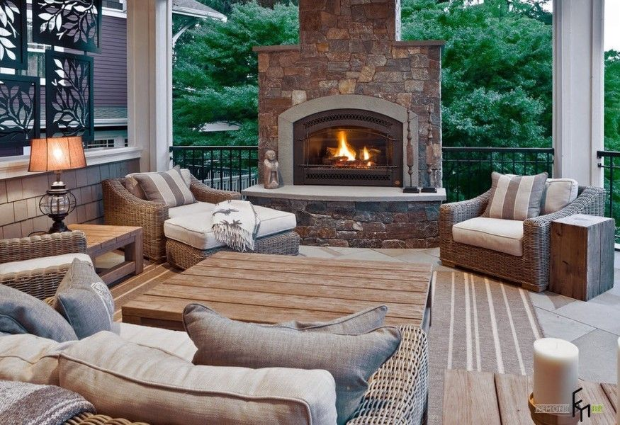 Big stone trimmed fireplace at the outdoor