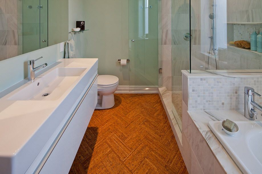 DIY Bathroom Remodel Ideas. Detailed Step by Step Instruction. Unique and bold decision to use cork floor