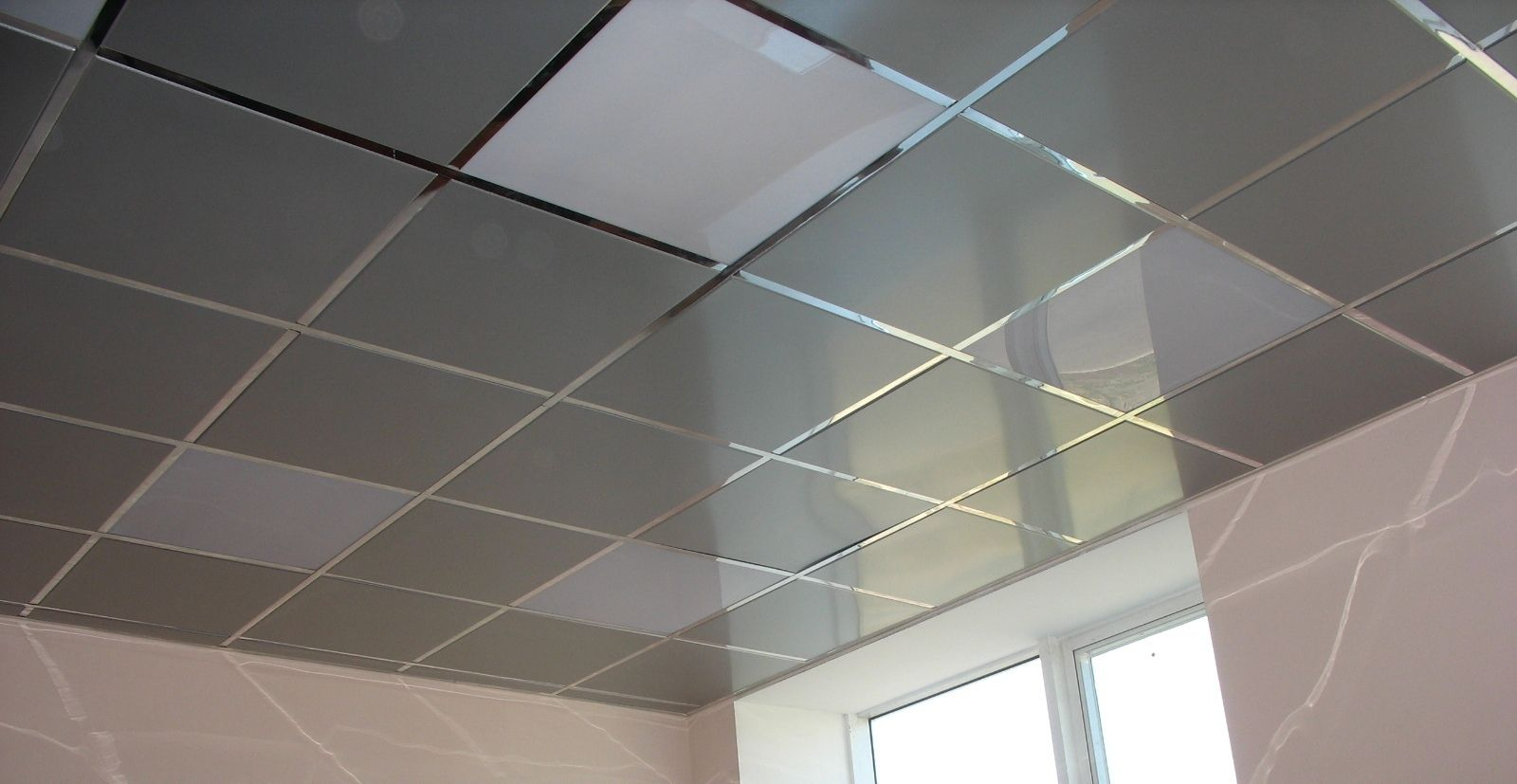 Typical office styled cassette ceiling with aluminum plates