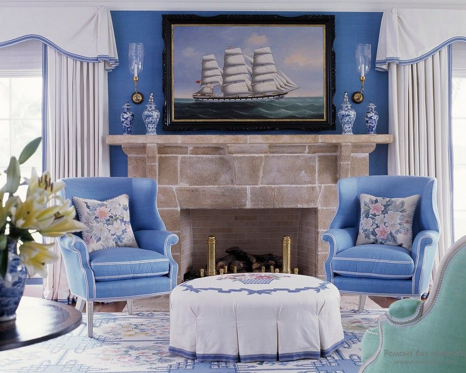 Blue Color Interior Decoraion Ideas. Water Element in Your Home. Crayola shade for the relaxing atmosphere of Classic setting