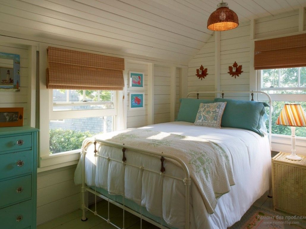 Turquoise Color in Modern Bedroom Interior. Typical Classic American village style with touch of elegance in the turquoise pillows