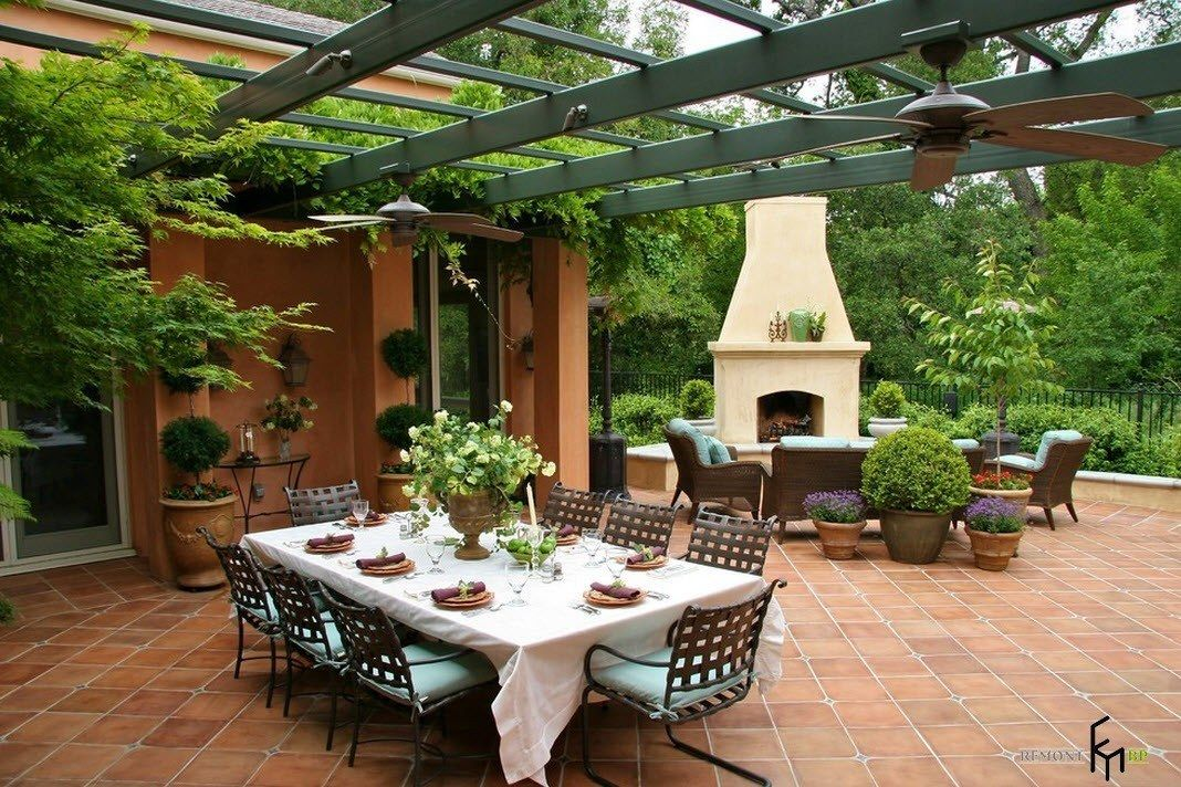 Patio furniture outdoor. Reviewing Types with Photo. Dining zone outdoor with framed improvised verdurous ceiling
