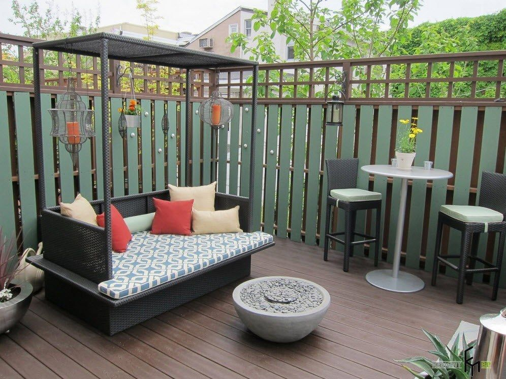 Patio furniture outdoor. Reviewing Types with Photo. Small area for relaxing at the garden