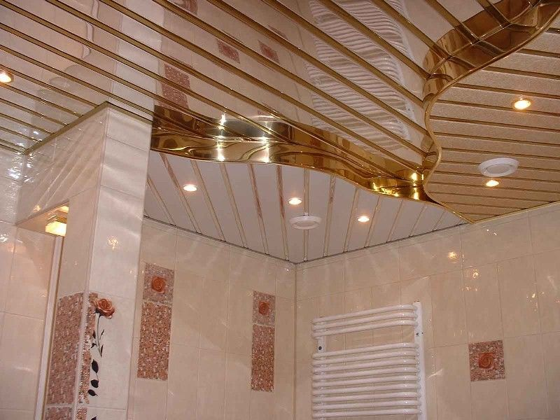 Plank pinion gold multileveled ceiling for bathroom