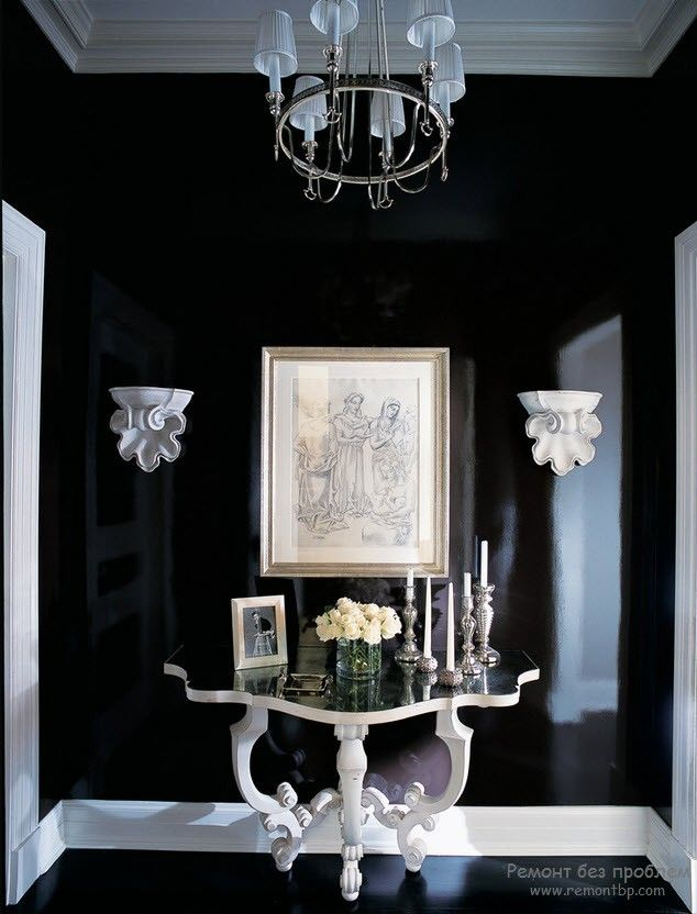 Dark hall room with white table in the private house