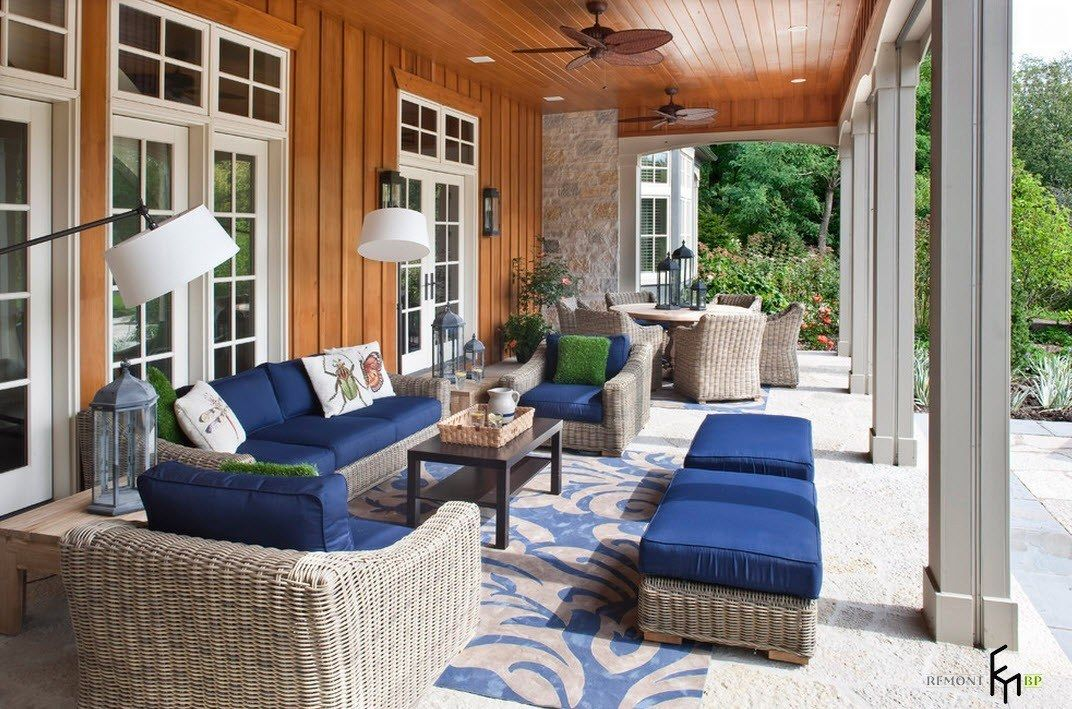 Patio furniture outdoor. Reviewing Types with Photo. Blue color tops of the upholstered furniture