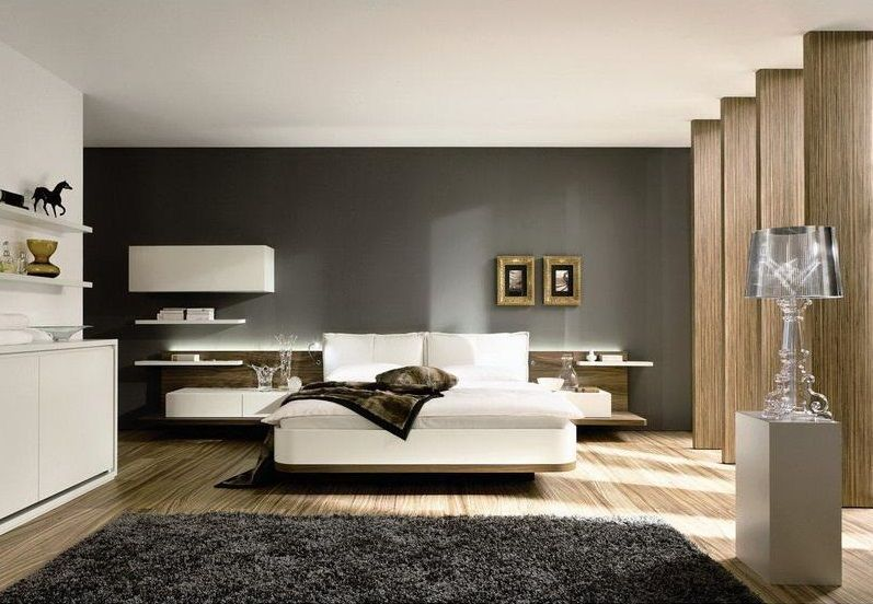 Dark and light contrasting in the large bedroom