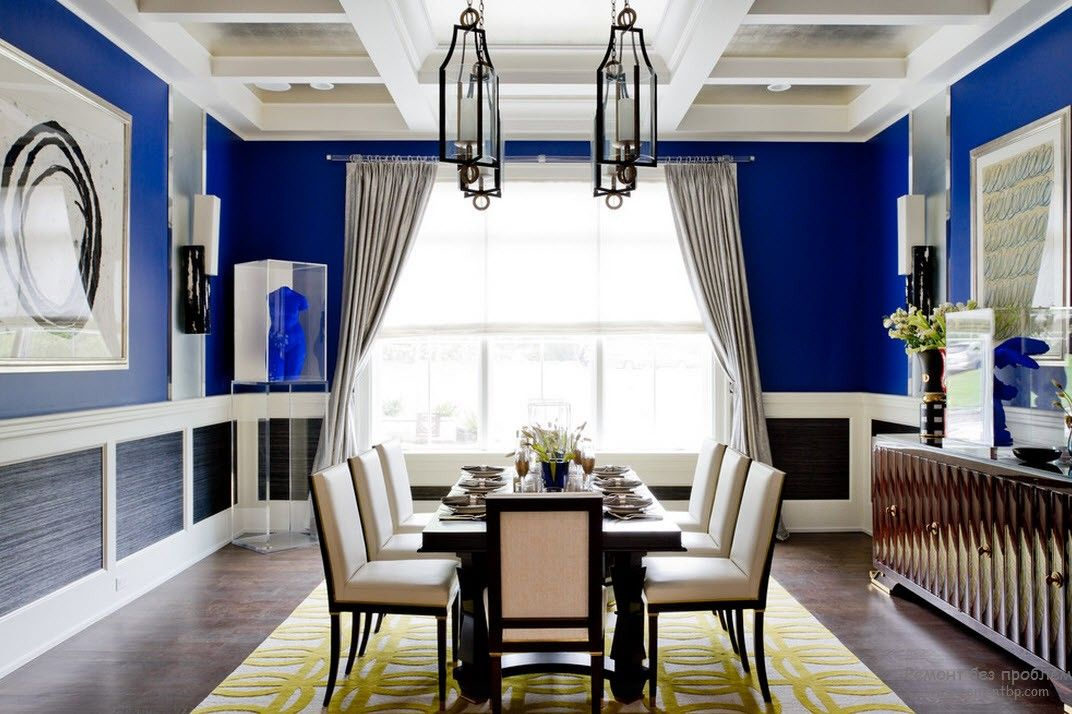 Blue Color Interior Decoraion Ideas. Water Element in Your Home. Deep color window wall accent in the large Classic dining room