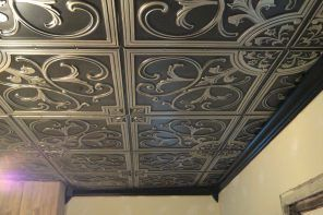 Expanded Polystyrene Tiles (Styrofoam tiles) Ceiling FInishing. Emnossed Classic black panels