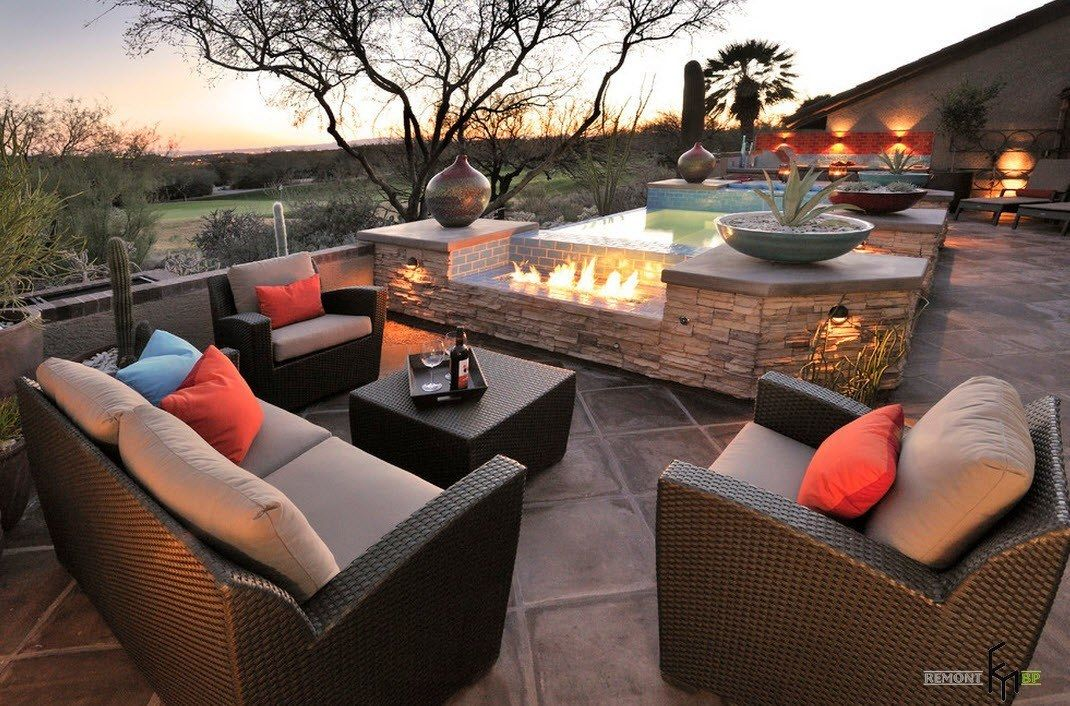 Patio furniture outdoor. Reviewing Types with Photo. Modern style for backyard resting zone in brown color