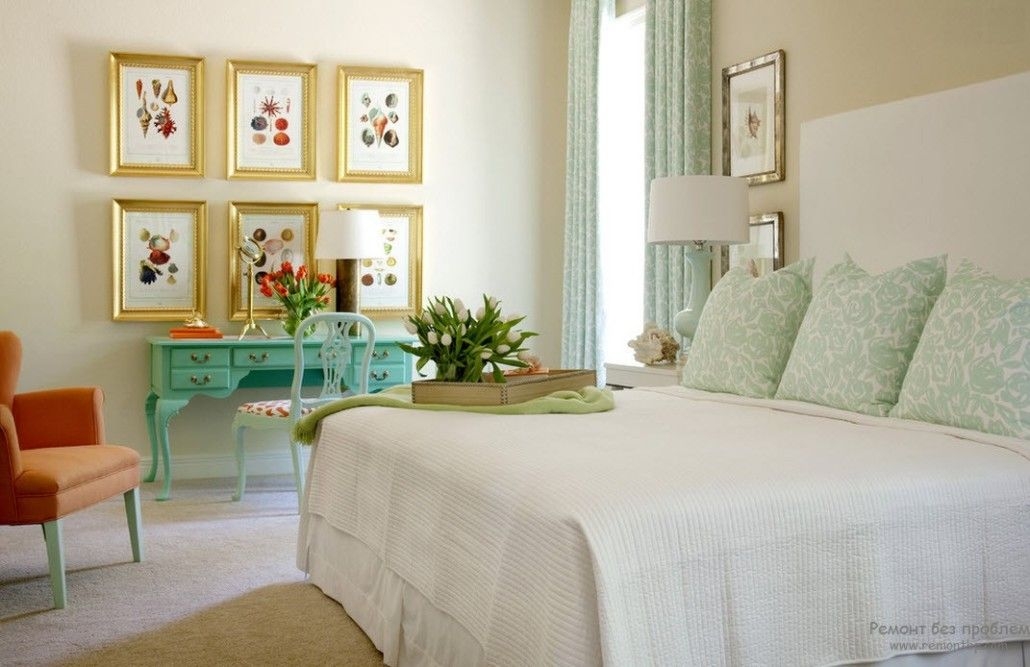 Turquoise Color in Modern Bedroom Interior. A play of shades in Classic styled room