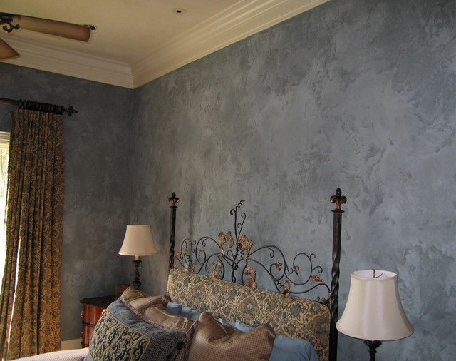 DIY Bedroom Repair: Step-by-Step Instruction. Spectacular dark blue decorative plaster for walls