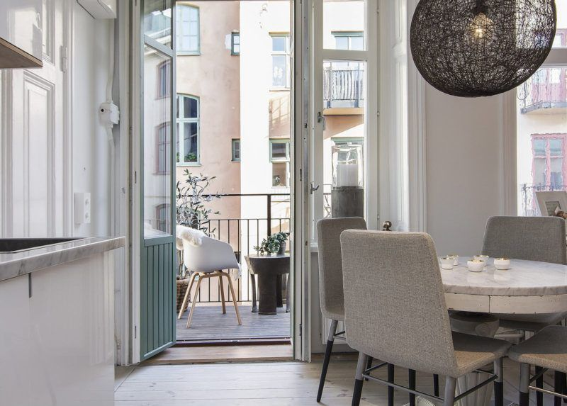 Kitchen Combined with Loggia or Balcony Design Ideas. Typical condo design with open layout