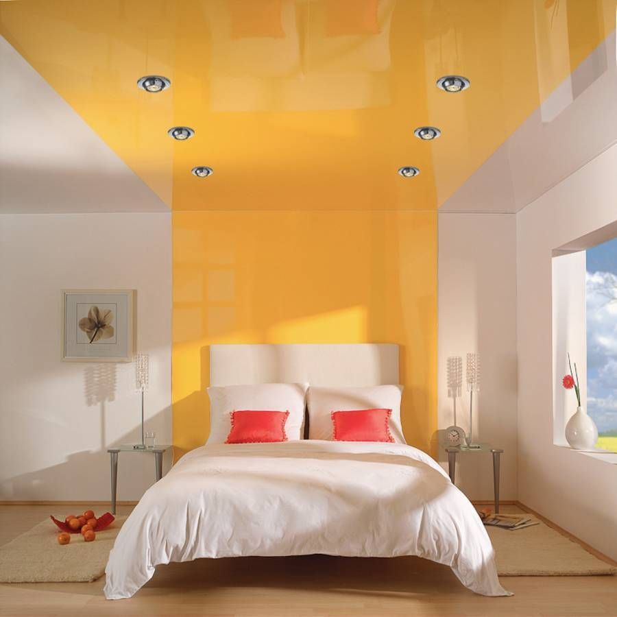 DIY Bedroom Repair: Step-by-Step Instruction. Stretching ceiling within the two-colored design