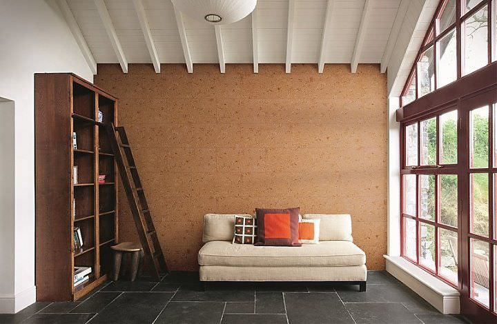 Cork Wallpaper Interior Finishing Advice & Photos. Open beams of the ceiling giving accent to the cork pasted wall